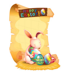 happy easter poster design with bunny and eggs vector image vector image