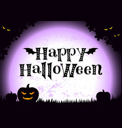 happy halloween with pumpkin monster eyesfoliage vector image