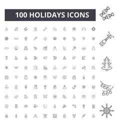 holidays line icons signs set outline vector image