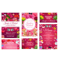 invitations on wedding party rsvp response cards vector image
