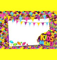 kids menu card frame vector image