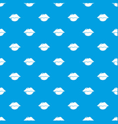 lips pattern seamless blue vector image