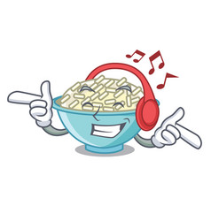 listening music rice bowl mascot cartoon vector image
