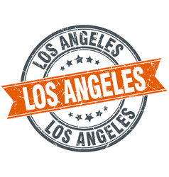 Los angeles red round grunge vintage ribbon stamp vector