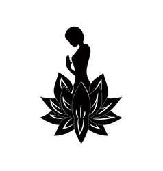 lotos woman pray meditation yoga vector image