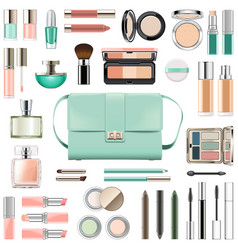 Makeup cosmetics with mint green handbag vector