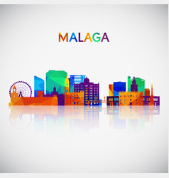 malaga skyline silhouette in colorful geometric vector image