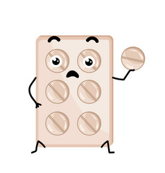Medical tablet blister cute cartoon character vector