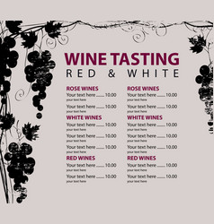 menu for wine tasting patterned bunch grapes vector image