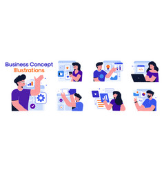 Modern colorful business concept set vector