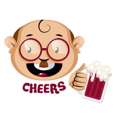 nerdy human emoji holding a glass beer on vector image