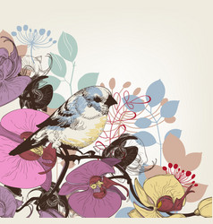 orchid and cute bird greeting card vector image