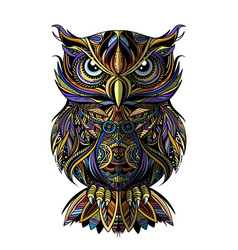 Owl drawn in zentangle style antistress freehand vector