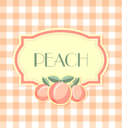 peach label in retro style on squared background vector image