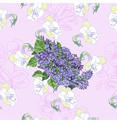 Pink Seamless pattern with lilac and flowers vector