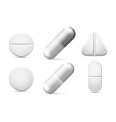Round white cure pills aspirin antibiotics vector