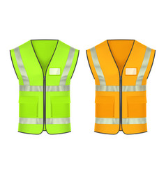 Safety vest with reflective strips mockup vector