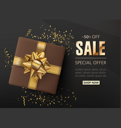 sale shop background with confetti gift box and a vector image