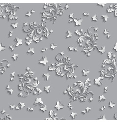 Seamless Pattern Background with paper flowers and vector image vector image