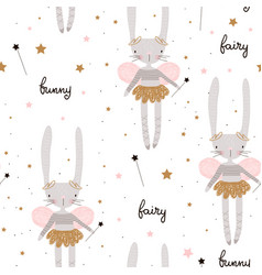 Seamless pattern with cute bunny ballerina with vector