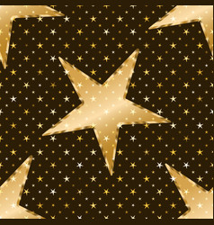 seamless pattern with golden stars on a dark vector image
