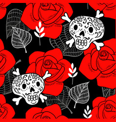 seamless pattern with sugar skulls and red roses vector image