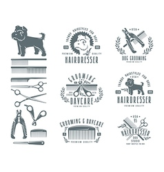 Set of hairdresser for dog Badges vector