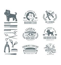 Set of hairdresser for dog Badges vector
