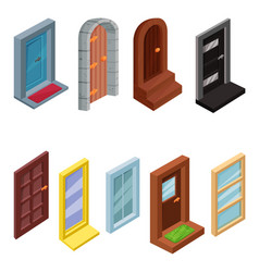set of isometric windows and entrance doors vector image