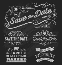 Set of save the date typography frame vector