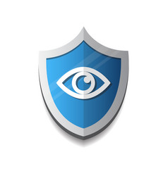 shield eye icon blue on white background vector image