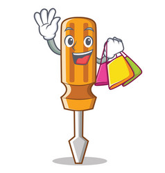shopping screwdriver character cartoon style vector image