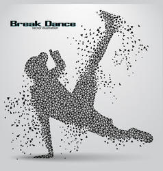 Silhouette of a break dancer from triangles vector