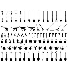 Silhouettes of garden tools vector