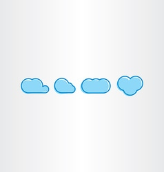 simple blue clouds icon set vector image