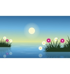 Spring landscape on the lake with flower vector