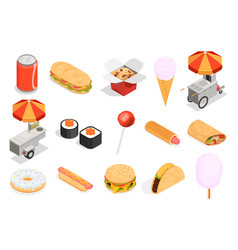 street food icons set vector image