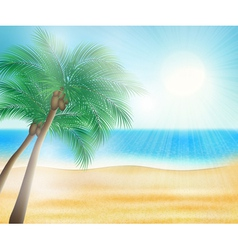 summer sea beach with palm trees vector image