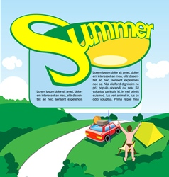 Summer travel print and banner design vector