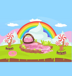 Sweet candy land fantasy landscape with rainbow vector