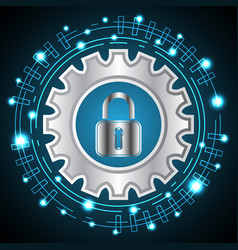 Technology digital cyber security lock gear vector