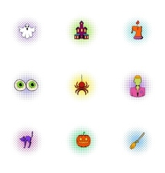 Terrible holiday icons set pop-art style vector