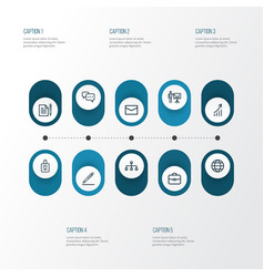 trade outline icons set collection of global vector image