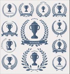 trophy and awards laurel wreath collection vector image