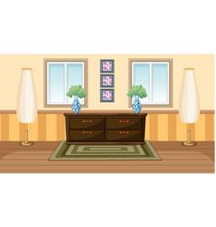Vintage room interior design with woden cabunet vector