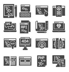 web development icons set gray color icons vector image