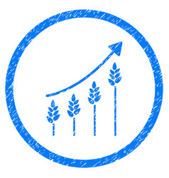 Wheat growing chart rounded grainy icon vector