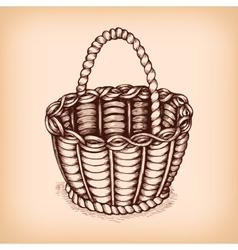 Wicker basket emblem vector