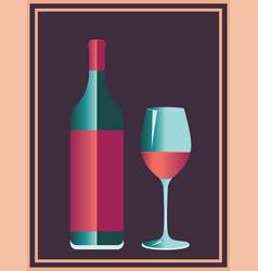 wine retro poster vector image