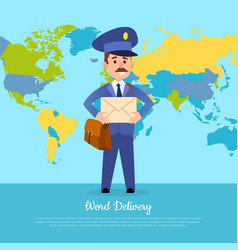 world delivery banner with postman mailman in vector image